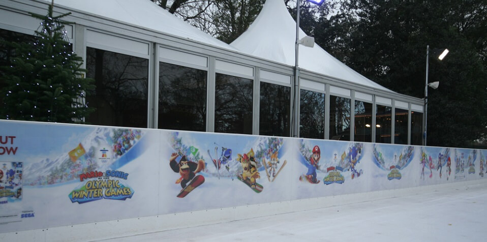 Polycarbonate hoarding on ice skating rink