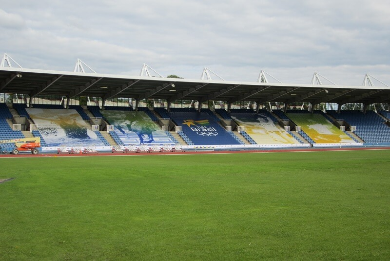 building wrap football stadium
